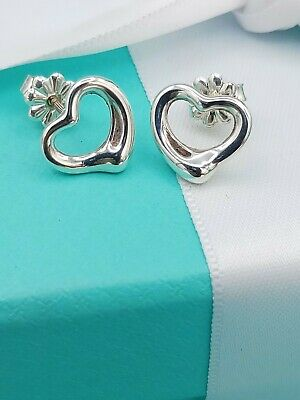 Authentic Tiffany & Co Elsa Peretti Open Heart Silver Stud Earrings Retail £240