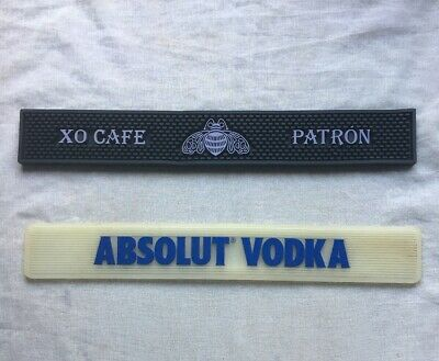 Lot Of 2 Absolut Vodka Patron Liquor rubber Bar Drip Mat runner Man Cave