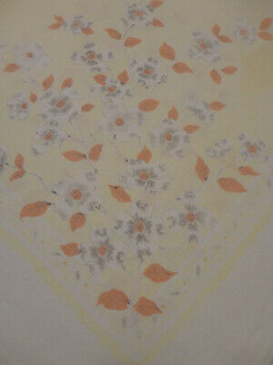 Vintage Yellow w/Dogwood Blossom Linen Tablecloth 48ish square