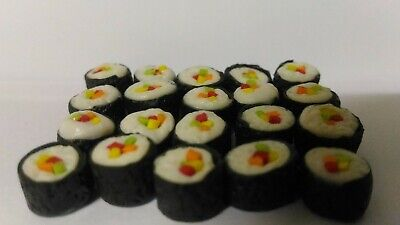 10 Seaweed wrapped rice Dollhouse Miniature Accessories Sushi Japan Food Supply.