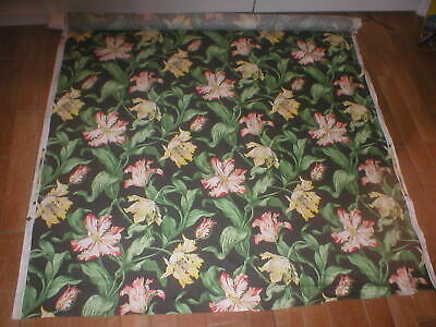 """Vintage """"Parrot Tulips"""" by Schumacher screen print Fabric on Roll  10 yards"""