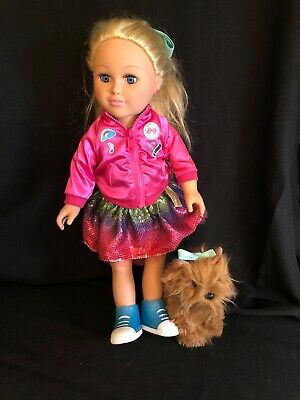 My Life As Jojo Siwa Doll, 18-Inch Soft Torso Doll with Blonde Hair, And Dog