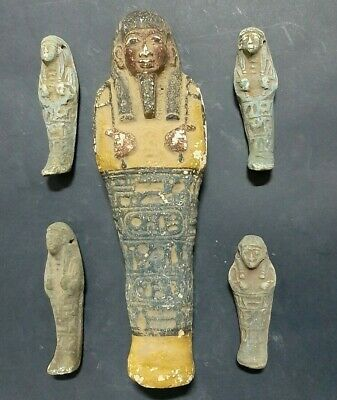 Rare ANCIENT EGYPTIAN ANTIQUES 5 Ushabti Shabti EGYPT Faience Stone 600-300 BC