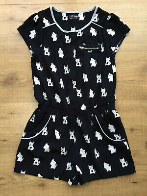 Girls Next Navy Blue Dog Cat Playsuit Short Suit All In One Summer Holiday Age 9