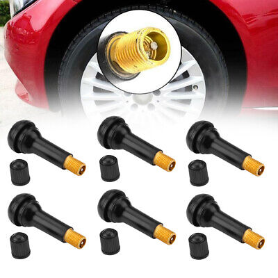 25Pcs TR414 Snap-in Tire Wheel Valve Stems Medium Rubber Black Kit Accessories