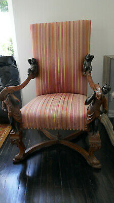 19th Century Italian Blackamoor Carved Figural Chair