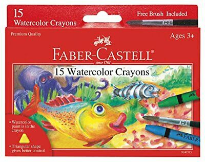 Faber-Castell Watercolor Crayons with Brush, 15 Colors - Premium Quality Art Sup