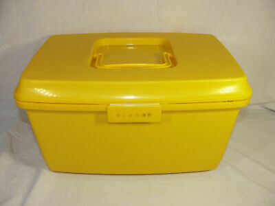 VINTAGE Yellow Singer SEWING BOX  CASE WITH TOP TRAY compartments Insert VGC