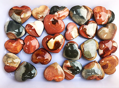 10 Pcs Natural Polished Polychrome Ocean Jasper Reiki Heart From Madagascar