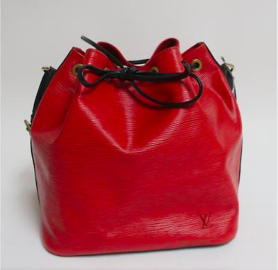 Louis Vuitton Red W Black Epi Leather Noe Pm Authentic Handbag