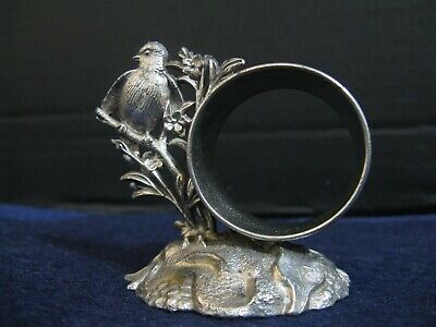 ANTIQUE FLORAL ETCHED BIRD NAPKIN RING by MERIDEN SILVER CO....QUADRUPLE PLATE
