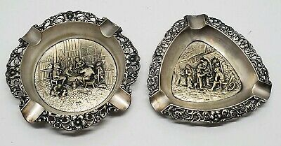 Vtg Herbert Hooijkaas HH90 Silver Pewter Ashtray Set Lot European Ornate cut out