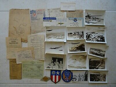 Group of WW2 20th Air Force patches, CBI paperwork and B-29 photos