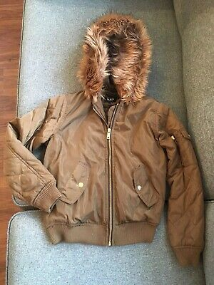 New Look 915 Khaki Green Bomber Jacket With Faux Fur Hood Age 10-11 vgc