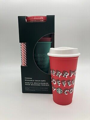 Lot Starbucks Holiday Reusable Cold Cups 5 Pack & Merry Coffee Red Cup Christmas