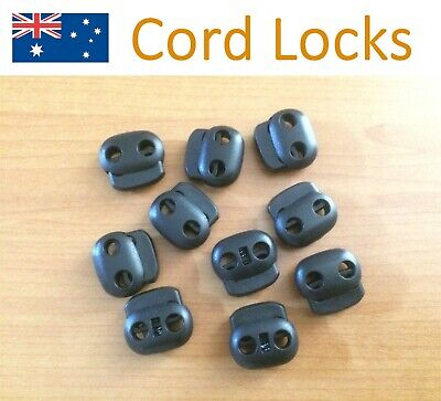 10/pk Cord Locks Double Hole Dia 4.5mmx2 Toggles Stopper Pig Nose Black Plastic