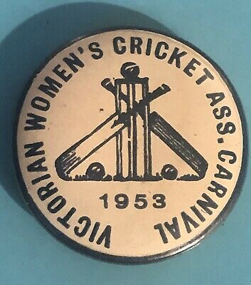 Vintage Women's Cricket Association Carnival 1953 Tin Badge VGC