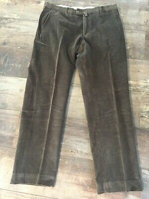 French Corduroy Flat Fronted Trousers (Light Brown) Size W35 L32