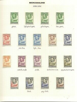 Bechuanaland 1938-52 Kgvi To 10/- Inc All Listed Shades Cat £275