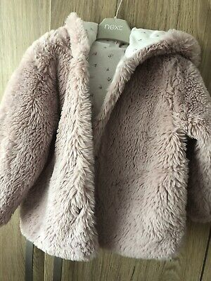 next girls faux fur coat Used Some Small Marks From Wear On The Inside 12-18mths