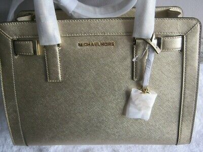 Michael Kors Dillon Tz Leder Tasche Neu New Bag  Pale Gold Damen Handtasche