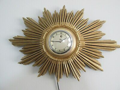 Superb Art Deco Sunburst Giltwood Smiths Electric Wall Clock 1930s Working