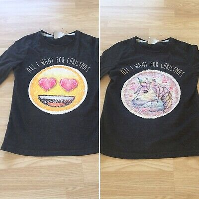 ~Girls Christmas TOP Jumper Day Age 8-9 Unicorn Emoji Top Changing Sequins VGC~