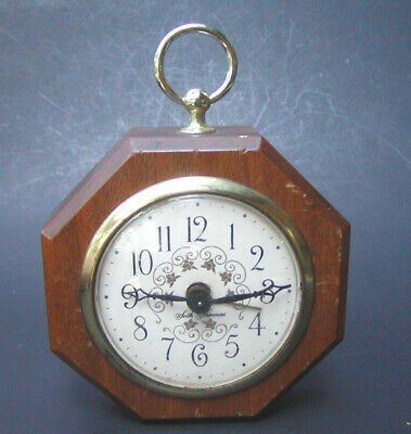 Vintage Seth Thomas Wood & Brass Wind Up Octagon Alarm Clock