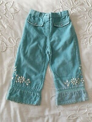 Girls Monsoon Teal Velvet Embroidered Trousers Age 2-3 Post Next Day