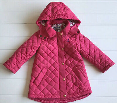 Girls Joules Age 4 Years Coat Pink Quilted Hooded Junior Marcotte Good Cond