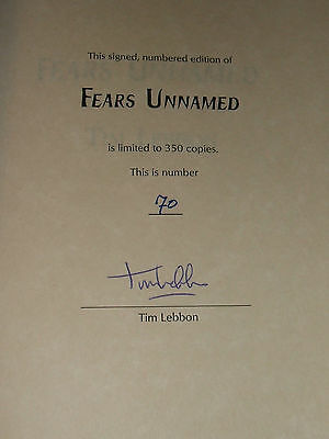 Signed Limited first edition of Fears Unnamed 4 Novellas by Tim Lebbon Nice Copy