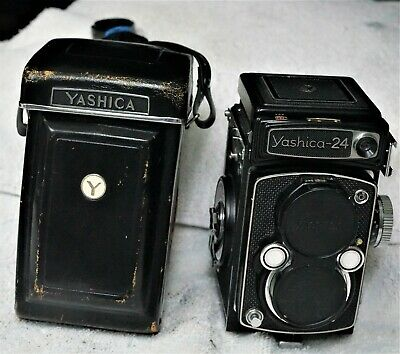 Circa 60's Yashica 24 TLR & Yashinon 80 F3.5  w/org leather case _mint