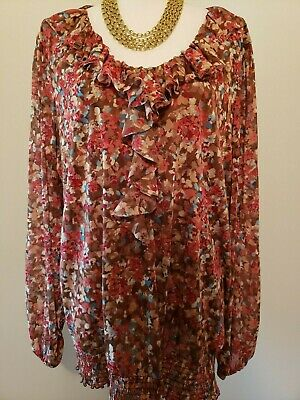 Charter Club Womens Brown Red Sheer Floral  Lined Ruffle Stretchy Blouse Plus 3X