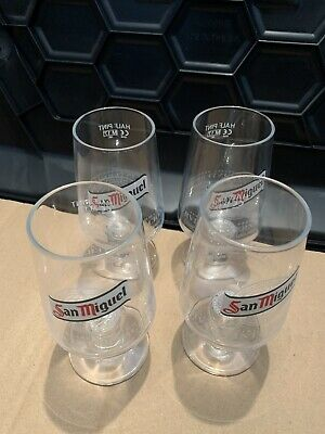 4x San Miguel Glasses NEW Unused Half 1/2 Pint Chalice Glass Beer Lager