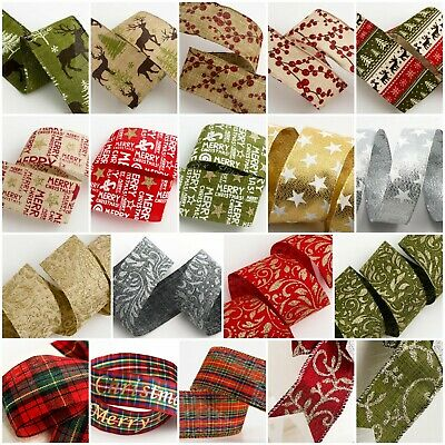 Christmas Ribbon Bundles Gift Pack Wrap Tying Wreath Rustic Decoration Crafts