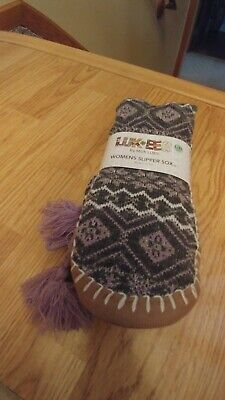 Nice NWT Knit Slipper Socks By Muk Luks Mid Calf  M/L (5-7) with Gripper Sole