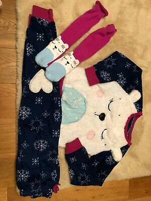 Girls Tu Fleecy Christmas Pjs And Bed Socks Aged 8-9 Yrs