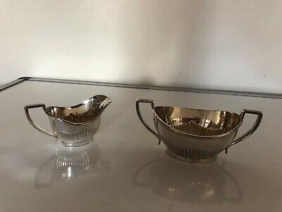 Silver Plated Batchelor Half Ribbed Milk Jug & Sugar Bowl (Spm&S 66)