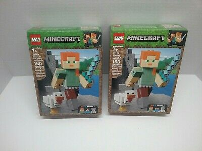 New LEGO Minecraft 21149 Alex W/ Chicken BigFig Series 1 160 Pcs  2sets