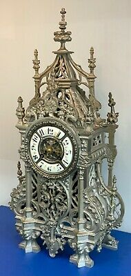 Large 19th C Silvered Pierced Bronze Cathedral Style Mantel Clock by A.D.Mougin