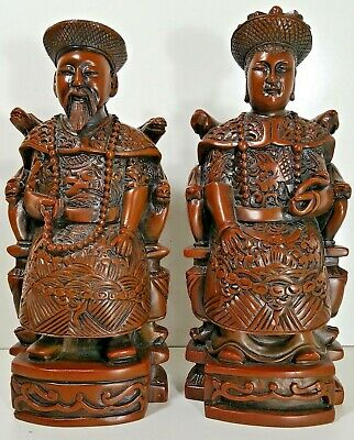 """Chinese Brown Resin Set Royal Figurine Statues EMPEROR & EMPRESS Pair 8.5"""" Tall"""