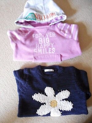 Bundle, Girls M&S, Navy/White/Yellow, Knitted Pullover and NEXT Pink Hoodie