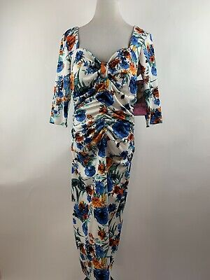 Bettie Page Queen Of Pinup Plus Size Dress Blue Multicolor Floral Size 18W