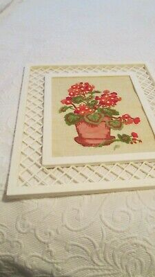 Vintage Crewel Embroidery Completed Finished Red Geraniums Wicker Trellis Retro