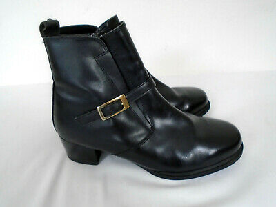 """2/"""" HEEL SIZE 9 E NAVY 106//11 NEW IN BOX SHOE TAILOR LEATHER LADIES ANKLE BOOTS"""