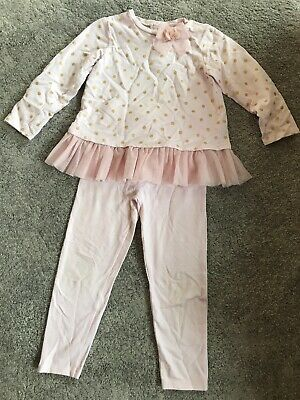 Girls Little Me By TK Maxx Age 4 Pink Spotted Frilly Top And Trousers Outfit Set