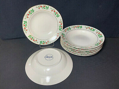 """Gibson Everyday Christmas Charm Holly Berry Rimmed Soup Bowls 8"""" Set Of 7"""