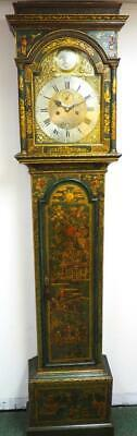 Rare Chinoiserie Grandfather Clock 8 Day Bell Striking Brass Dial Longcase Clock