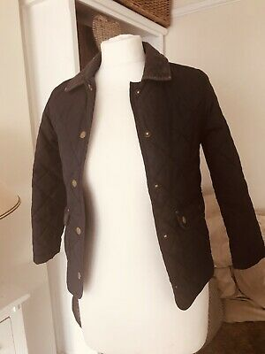 M&s Girls Quilted Jacket Navy Blue Age  7-8 Years Old