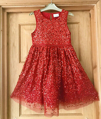 NEXT *9y GIRLS Beautiful RED Sequin PARTY DRESS Occasion Xmas AGE 9 YEARS